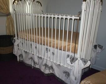 elephant printed crib skirt