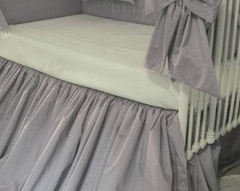 Gray and White Faux Crib bedding - Super Sale
