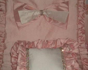 Luxury Crib Blanket and Pillow w/Rhinestone trim