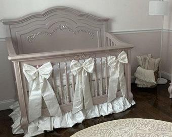 Dupioni Skirt - Sheet - Bows for Baby Crib