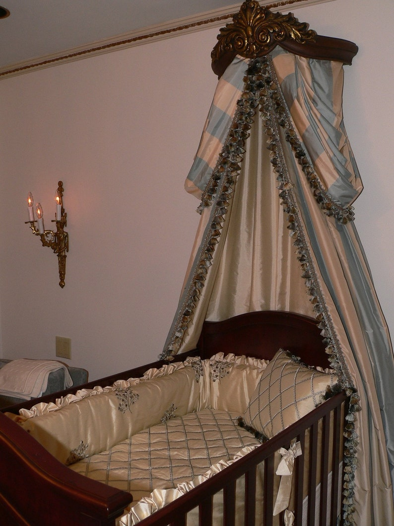 Elegant Canopy with Swags-n-Drapes over a Luxury Custom Silk image 0