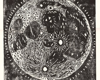 Moon Lino Print