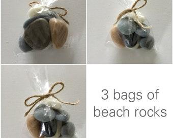 Beach/River Rocks Soap, 3 Bags,Handmade In Maine, Beach Theme,Rustic,Wedding Favors,  Theme,  Weddings,  You save 20%, CUSTOM ORDERS WELCOME