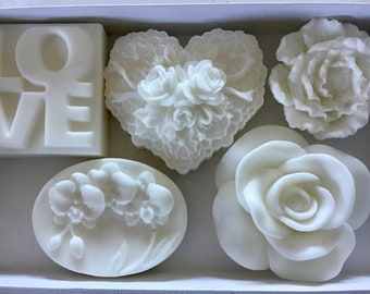 Wedding White Art Soaps Gift Box Set - 5 piece set of quality handmade art soaps, love, heart, flowers, orchids and rose - Wedding, Bridal