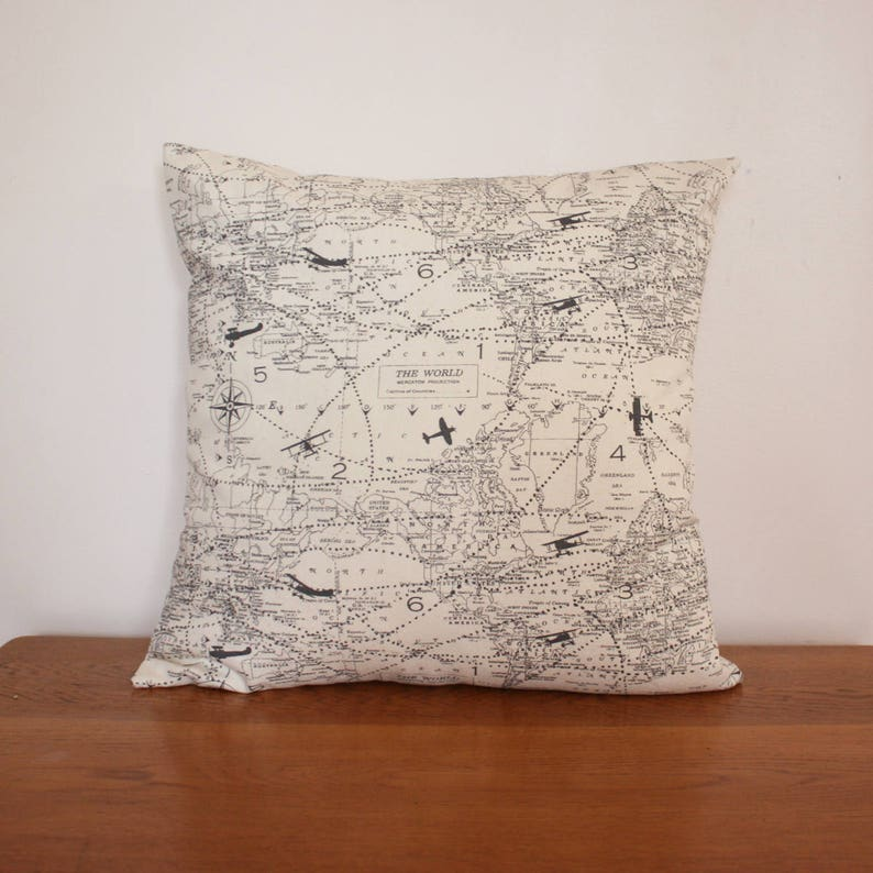 Air Traffic Map Natural Decorative Throw Pillow Covers. image 0