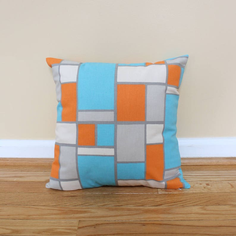Teal Orange and Gray Geometric Pillow Covers. 16 x image 0