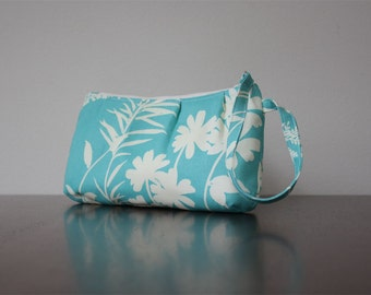 Pleated Wristlet in Teal with Ivory Flowers, Ready to Ship