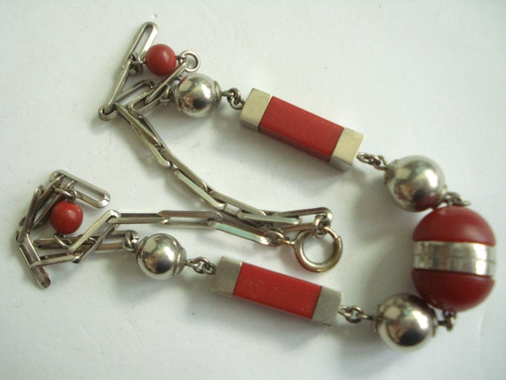 Art Deco Necklace Jakob Bengel Red and Chrome   19
