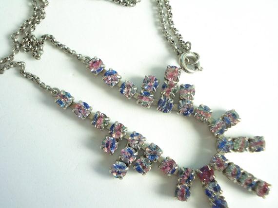 Rainbow or Iris Glass Necklace 1930's 40's
