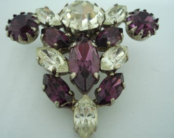 Vintage Brooch Amethyst and Clear Glass 70's 60's
