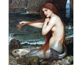 Mermaid Print   Sits on Shore Combs Hair   Repro JW Waterhouse