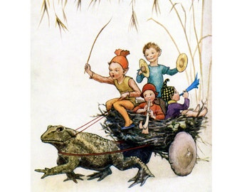 Fairy Greeting Card - Toad Pulls a Wagon Made From a Bird's Nest - Repro Margaret Tarrant
