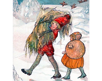 New Years Card - Children Doing Chores in the Snow - Scandinavian Holiday Notecard