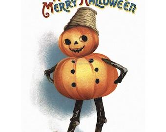 Halloween Card | Pumpkin Man | Repro Ellen Clapsaddle Notecard | Vintage Style