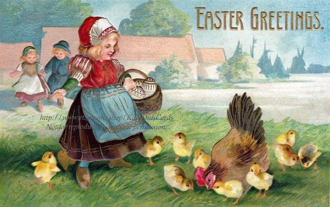 Easter Chicks Card - Dutch Girl Feeds Mother Hen Chickens