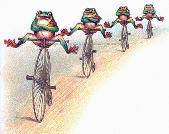 Frogs on Bikes Greeting Card - Repro from Vintage Image