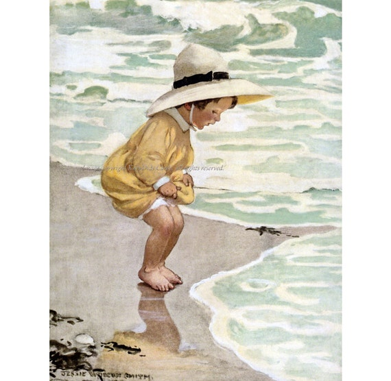 """Hand in Hand on the Beach  by Jessie Wilcox Smith  20/"""" Paper Print  Repro"""