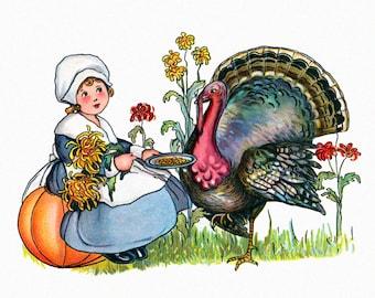 Thanksgiving Card - Pilgrim Girl Feeds Turkey - Vintage Style Greeting Card