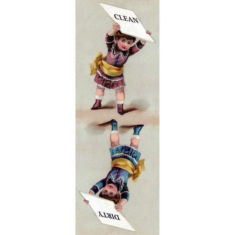 Victorian Girl with Placard Clean Dirty Dishwasher Magnet Vintage Style