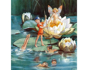 Faerie Greeting Card - Water Lily Fairies - Art Outside and In - Repro Tarrant