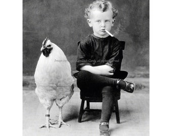 Chicken Boy Smokes a Cigarette Print Rooster Poses