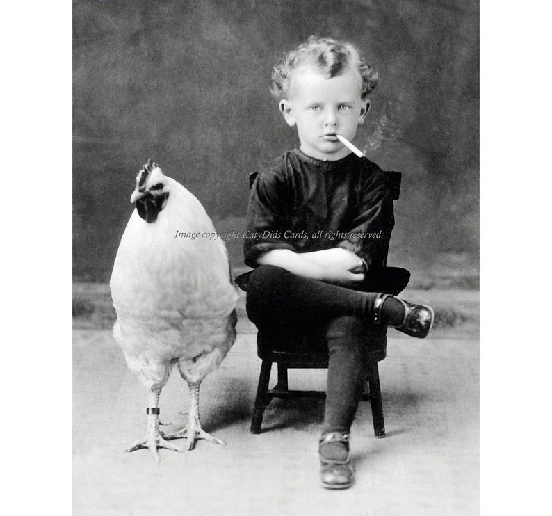 Chicken Boy Smokes a Cigarette Print Rooster Poses image 0