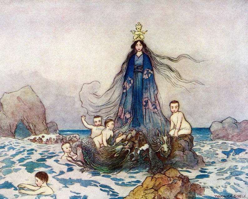 Japanese Goddess of Sea and Song Print w Sea Serpents Benten Warwick Goble
