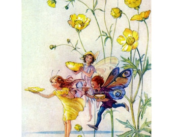 Flower Fairy Card - Fairies Use Buttercups - Art Outside and In - Repro Tarrant