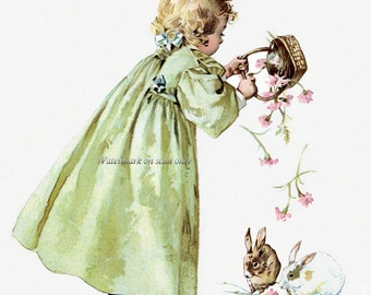Easter Bunnies Card - Maud Humphrey Girl Greeting Card