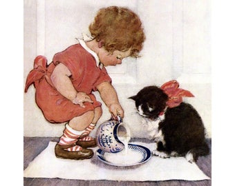 Girl with Kitten Print - Repro Jessie Willcox Smith - Child Gives Cat Cream - Vintage Style Square Print