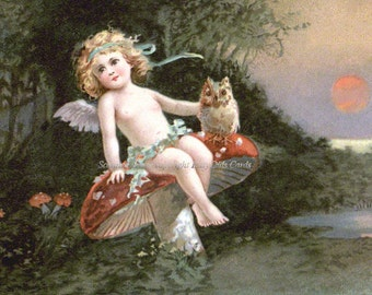 Fairy Owl Card - Sits on Mushroom - Repro Clapsaddle Greeting Card
