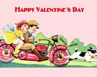 Valentines Day Card - Kids Ride Motorcycle - Repro from Vintage Valentine