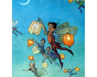 Faerie Greeting Card - Fairy Lanterns - Art Outside and In - Repro Tarrant