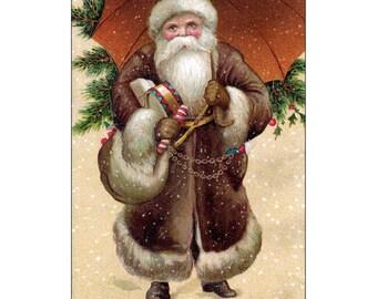 Santa Claus Card - Santa Claus with Umbrella Brings Gifts - Holiday Notecard