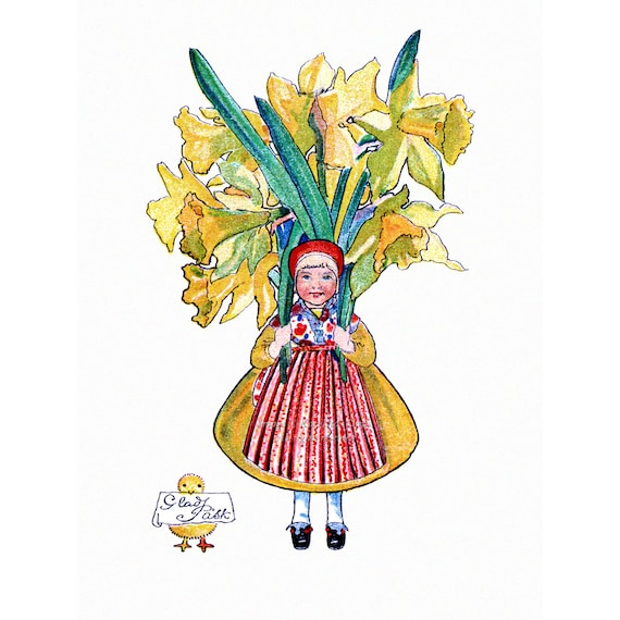 Easter Greeting Card - Girl with Daffodils and Small Chick - Vintage Style Aina Stenberg