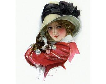 "Boston Terrier Print - Repro Harrison Fisher Girl w Puppy Dog 5 x 7"" Print"