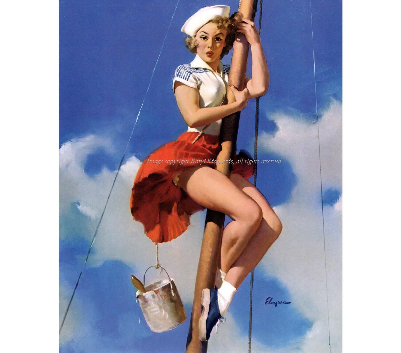 pinup girl notecard sailor climbs mast vintage style | etsy