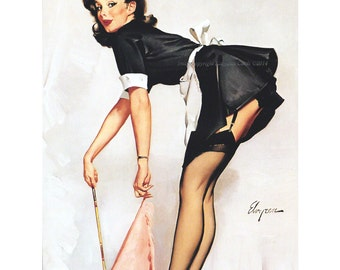Pinup Girl Print   French Maid   Repro Gil Elvgren