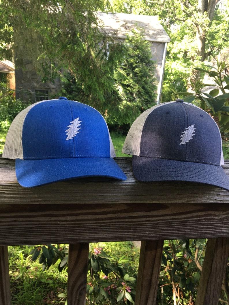 Grateful Dead inspired lightning bolt trucker hat. Heather blue  684accb8d09c