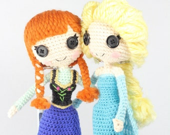 PATTERN 2-PACK: Anna and Elsa Frozen Crochet Amigurumi Dolls