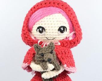 PATTERN: Little Red Riding Hood and Wolf Cub Crochet Amigurumi Dolls