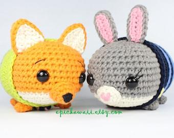 PATTERN 2-PACK: Judy Hopps and Nick Wilde Zootopia Tsum Tsum Crochet Amigurumi Dolls