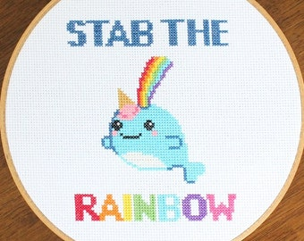 "PATTERN: Ice Cream Rainbow Narwhal Narwhale Sea Unicorn ""Stab the Rainbow"" Cross Stitch"