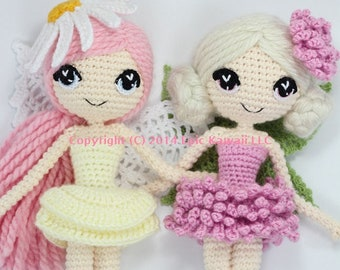 PATTERN 2-PACK: Althaena and Chrysanna Fairy Crochet Amigurumi Dolls