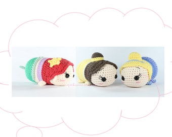 PATTERN 3-PACK: Ariel, Belle, and Cinderella Tsum Tsum Crochet Amigurumi Dolls
