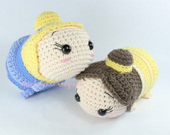 PATTERN 2-PACK: Cinderella and Belle Tsum Tsum Crochet Amigurumi Dolls