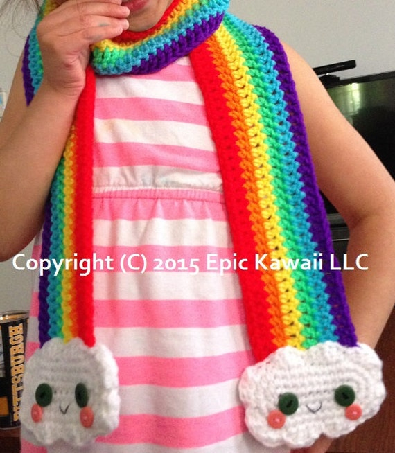 Pattern Kawaii Rainbow Crochet Scarf For Kids Etsy