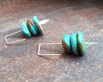 Turquoise Earrings, Turquoise and Silver Earrings, Minimalist Earrings, Modern Earrings, Minimalist, Modern Turquoise Earrings