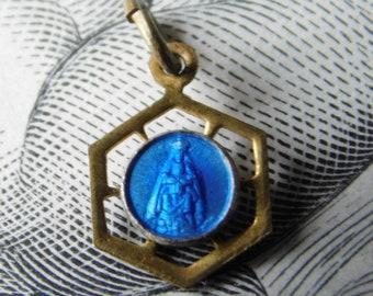 Antique French Religious Blue Enamel Medal Charm Pendant of Virgin & Child