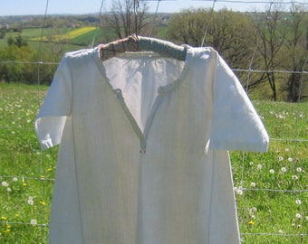 French Chemise Pure Linen Hand Sewn 19th Century French Smock Red Cross Stitch Monogram MP , Farmhouse Country Chic, Re-Purposed Clothing,
